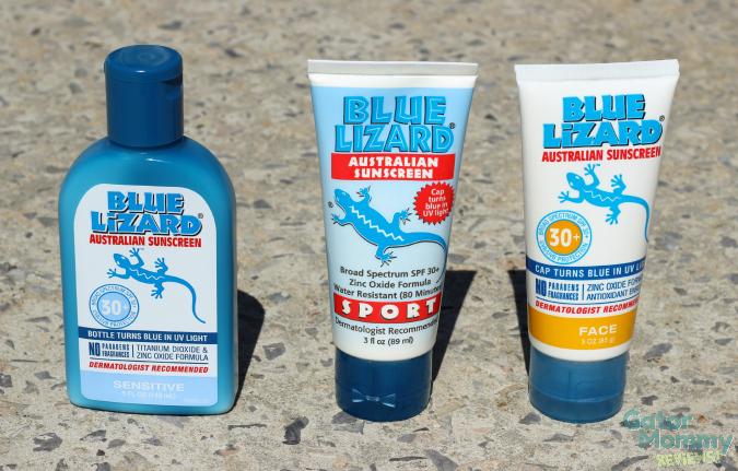 Blue Lizard Sunscreen color changing bottles