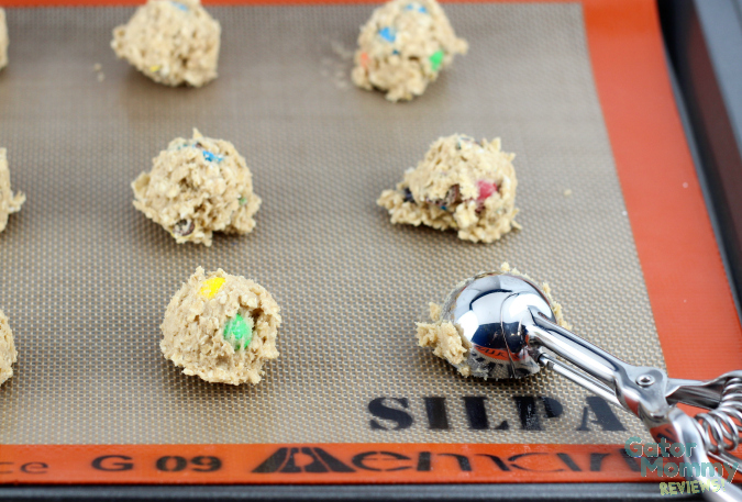 Using a cookie scoop to make M&M's® Oatmeal Cookies