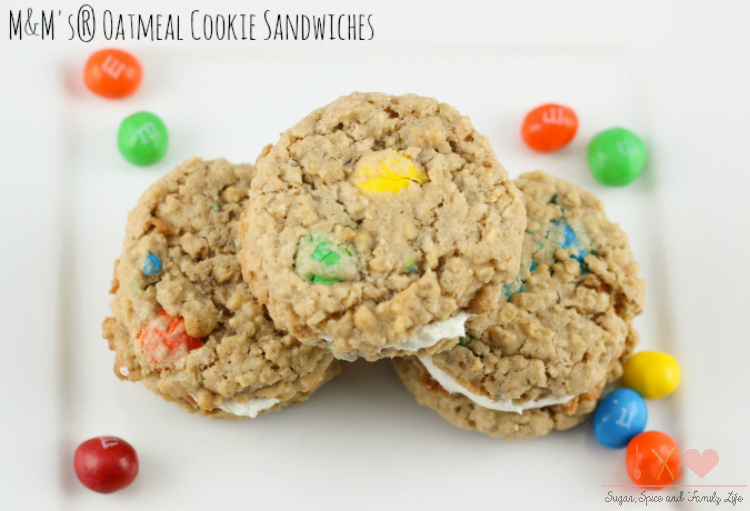 M&M Oatmeal Cookie Sandwiches