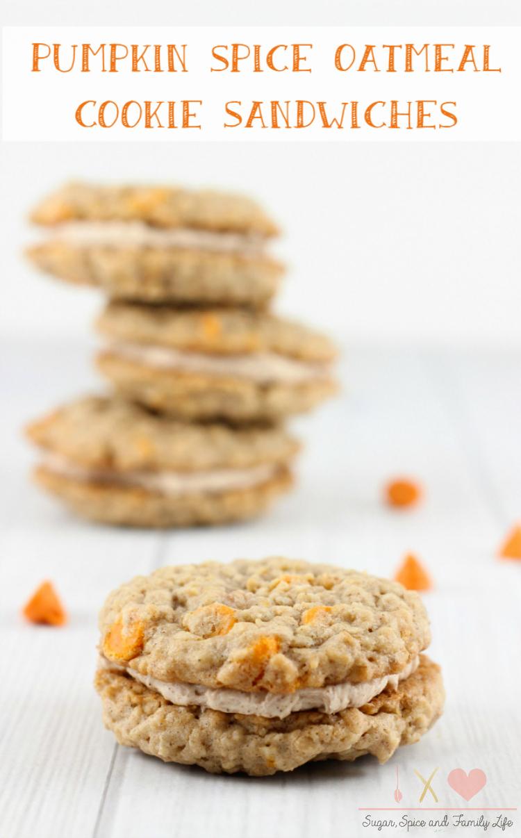 Pumpkin Spice Oatmeal Cookie Sandwiches