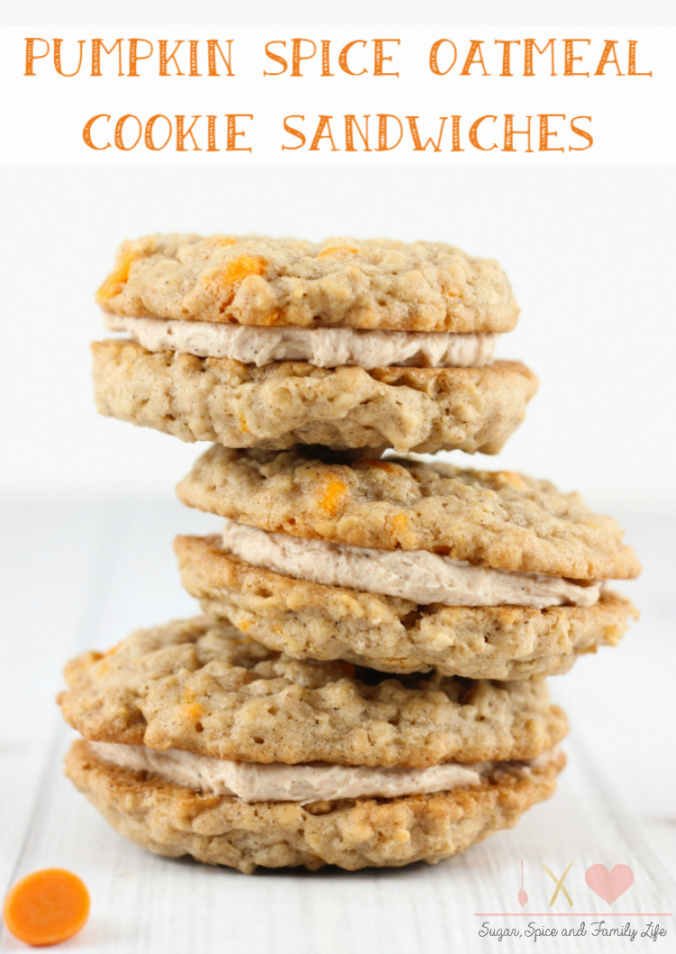 Pumpkin Spice Oatmeal Cookie Sandwiches