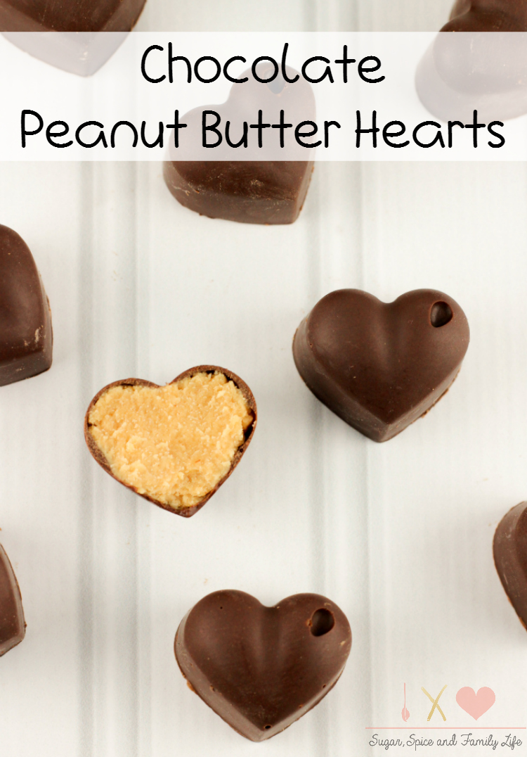 Chocolate peanut butter hearts recipe sugar spice and for Easy sweet treats with peanut butter