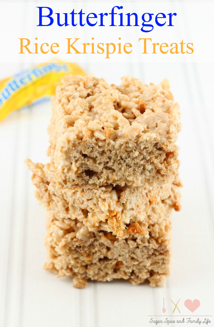 Butterfinger rice krispie treats recipe sugar spice and for How do you make rice crispy treats