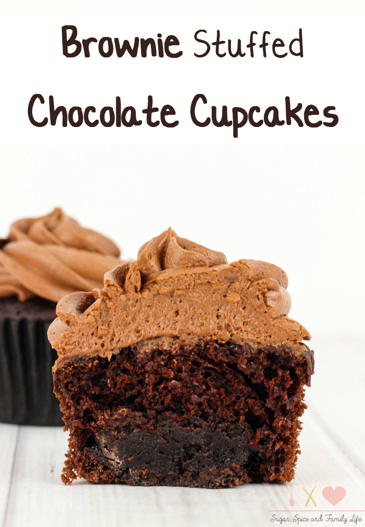 Brownie Stuffed Chocolate Cupcakes
