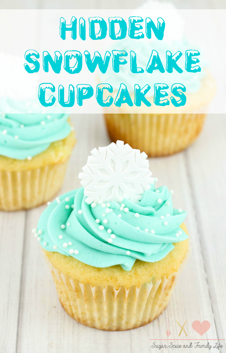 Disney Frozen Treats featured by top US Disney blogger, Marcie and the Mouse: image of FROZEN Hidden Snowflake Cupcakes