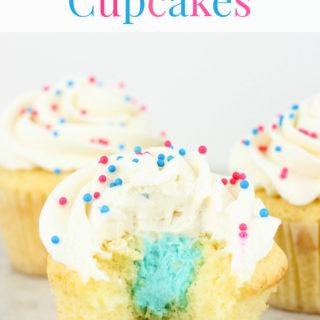 Gender Reveal Vanilla Cupcakes