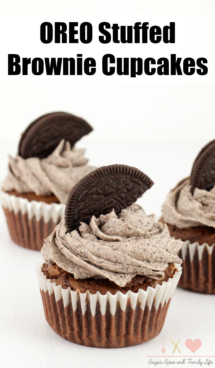 Oreo Stuffed Brownie Cupcakes