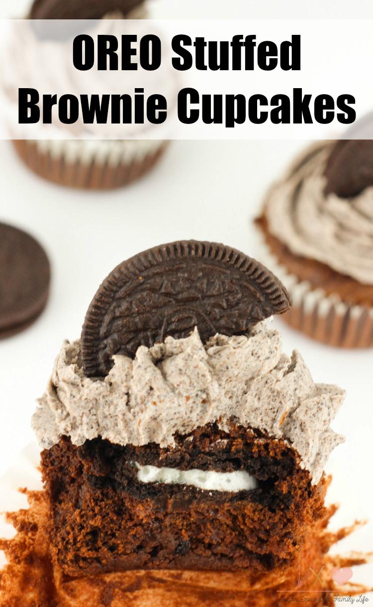 Oreo Stuffed Brownie Cupcakes