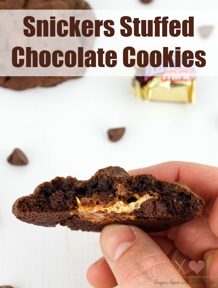 Snickers Stuffed Chocolate Cookies