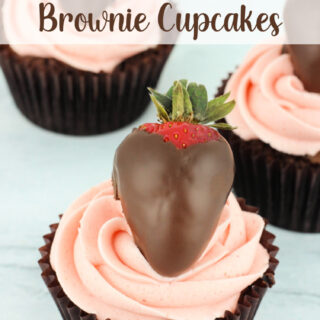 Chocolate Covered Strawberry Brownie Cupcakes